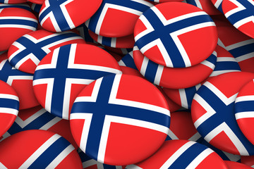 Norway Badges Background - Pile of Norwegian Flag Buttons 3D Illustration