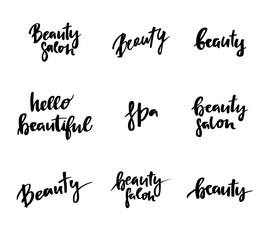 Hand lettering vintage quotes - Hello beautiful. Modern Calligraphy.