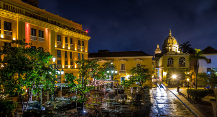 Old Walled City of Cartagena at night - Colombia