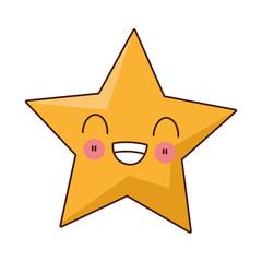 flat design kawaii star icon vector illustration