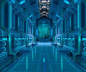 3d illustration of sci-fi corridor interior