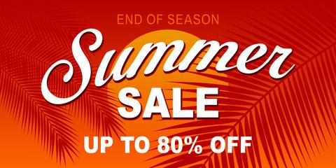 Summer hot sale banner. Vector Illustration