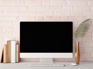 Mock up PC Screen, rose brick background, 3d rendering