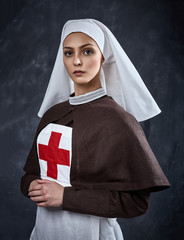Photo of young woman, sister of charity.