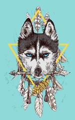 Door stickers Hand drawn Sketch of animals sketch of husky