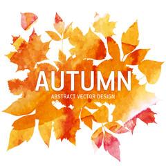 Golden autumn, seasons illustration, leaves of bouquet, handmade painted, abstract vector design art
