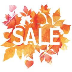 Golden autumn, seasons sale, leaves of bouquet, handmade painted, abstract vector design art