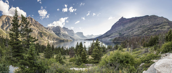 Wild Goose Island Panoramic - Glacier National Park Wall mural