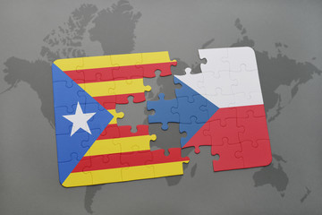 puzzle with the national flag of catalonia and czech republic on a world map background.