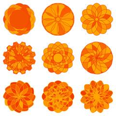 Set of Circle Geometric Ornaments. Vector