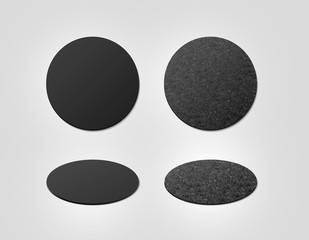 Blank black and cork textured beer coasters mockup, clipping path, 3d illustration. Round clear mug mat design mock up top view. Circle cup rug display, 2 side set, isolated. Bottle plain coaster