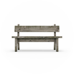 Ancient rural bench from logs. Isolated, on white background, 3d rendering.