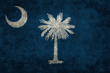 Flag of South Carolina with distressed textures