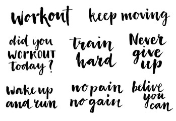 Inspirational workout quote set.