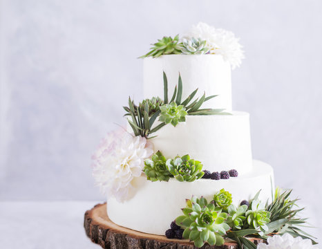 Elegant wedding cake with flowers and succulents