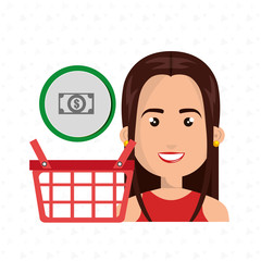 cartoon woman next to a shopping basket and a cash symbol above