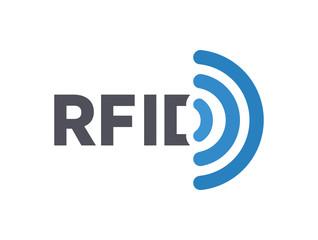 Vector RFID tag logo. Radio-frequency identification symbol or icon