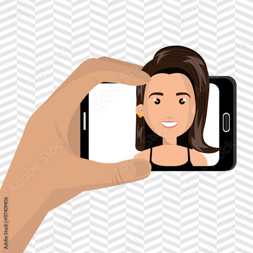 woman on the screeen of a smarthone vector design stock image and