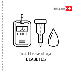 Test strips and drop. Determination level of blood sugar. Diabetes