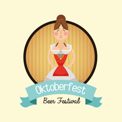 cartoon woman girl dress beer festival oktoberfest germany icon. Colorfull illustration and seal stamp with ribbon. Vector graphic