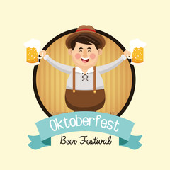 cartoon man beer festival oktoberfest germany icon. Colorfull and seal stamp with ribbon illustration. Vector graphic