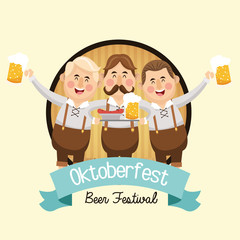 cartoon man mustache beer festival oktoberfest germany icon. Colorfull and seal stamp with ribbon illustration. Vector graphic