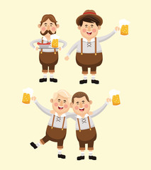 cartoon men male beer festival oktoberfest germany icon. Colorfull illustration Pastel background. Vector graphic