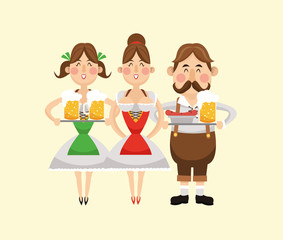 cartoon man woman girl beer festival oktoberfest germany icon. Colorfull illustration. Vector graphic