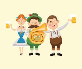 cartoon man woman girl saxophone beer festival oktoberfest germany icon. Colorfull illustration. Vector graphic