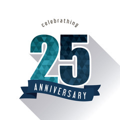 Celebrating Anniversary concept represented by 25 year number icon with ribbon. Colorfull and polygonal illustration.
