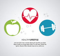 Healthy lifestyle concept represented by heart apple and weight icon. Colorfull and flat illustration.