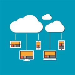 Devices connect to cloud storage. Cloud computing concept.