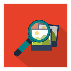 Search concept represented by lupe and picture icon. Colorfull and flat illustration.