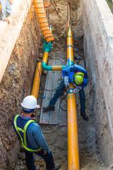 Working construction gas pipeline underground