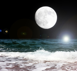 abstract scene with full moon and night sea beach
