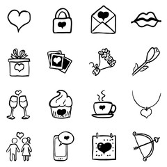Vector Set of Black Doodle Valentine Icons