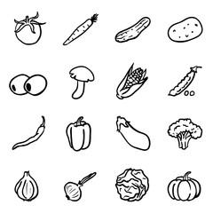 Vector Set of Black Doodle Vegetables Icons.