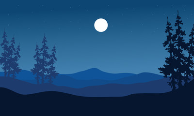 Silhouette of hills on blue backgrounds
