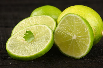 Fresh  organic lime slices.