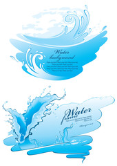 Two water frames. Splashes, isolated on white background. Vector illustration