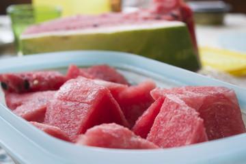 fresh watermelon cubes