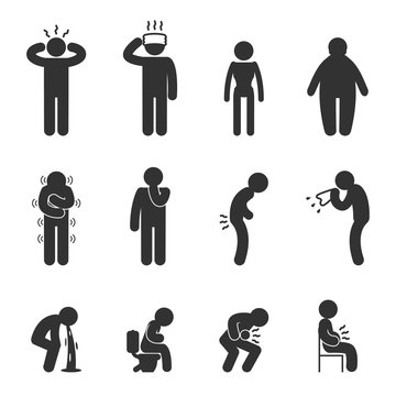 Symptoms of people disease icons. Sick and ill