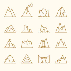 Wall Mural - Mountain line elements vector set
