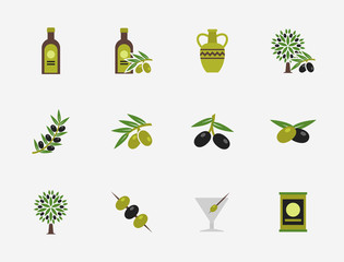 Wall Mural - Olive flat vector icons set