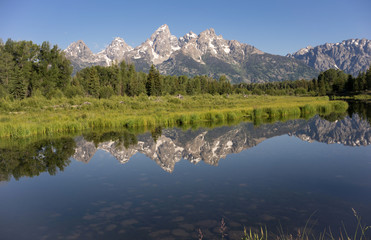 Teton Range Reflected Smooth Water Grand Teton's National Park