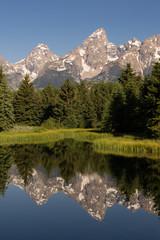 Teton Range Smooth Water Reflecting Grand Teton's National Park