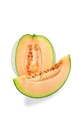 Orange Melon fruit isolated on white background.