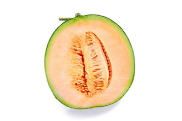 Half orange Melon fruit isolated on white background.