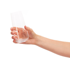 Female hand holding empty clean drinking glass against white