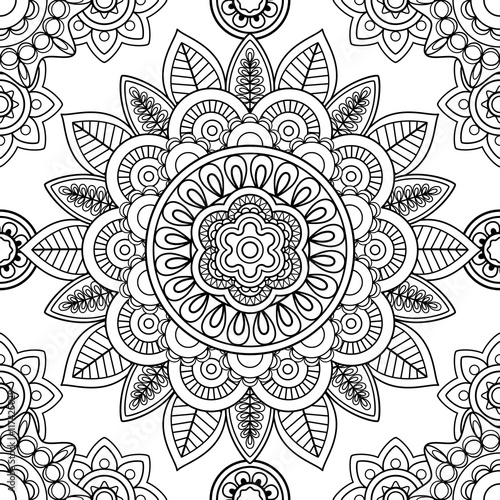 Ethnic boho seamless-pattern, coloring pages template. Vector ...